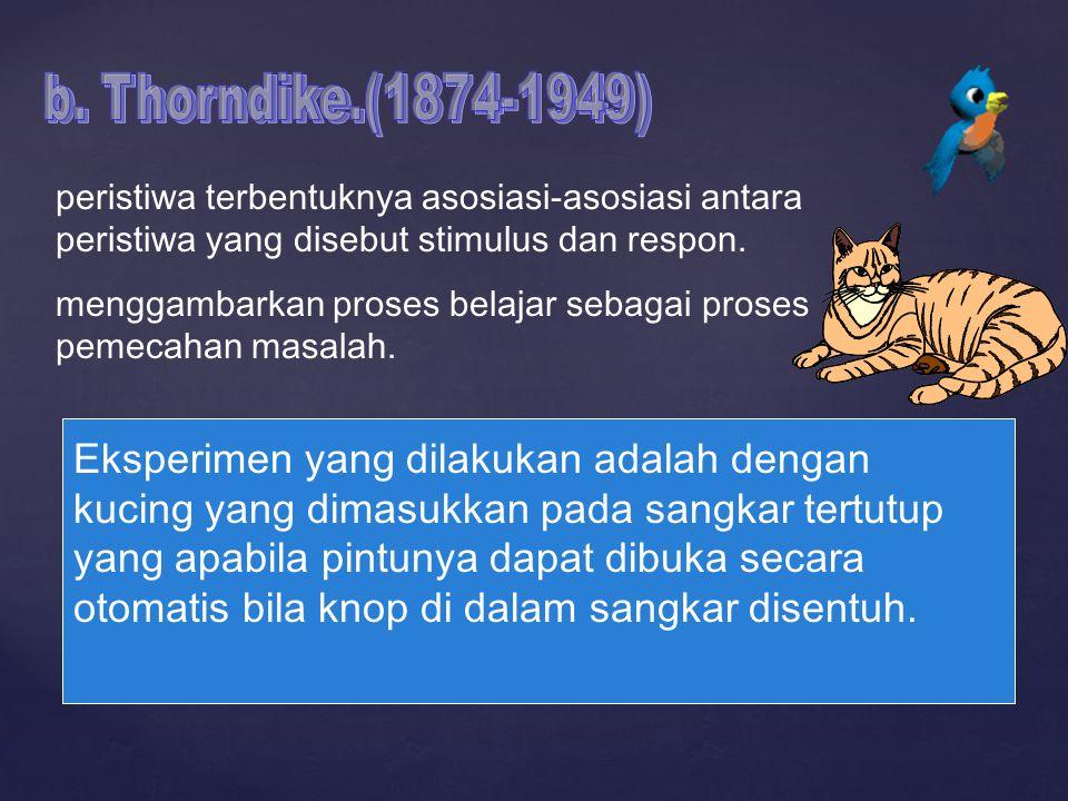 b. Thorndike.(1874-1949) peristiwa terbentuknya asosiasi-asosiasi antara peristiwa yang disebut stimulus dan respon.