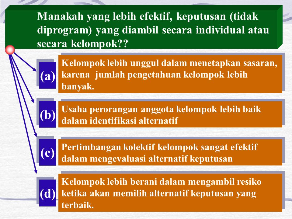 (a) (b) (c) (d) Manakah yang lebih efektif, keputusan (tidak