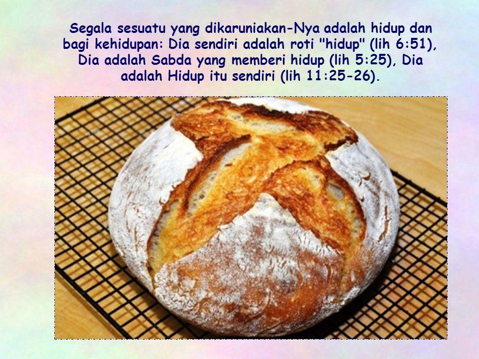 Segala sesuatu yang dikaruniakan-Nya adalah hidup dan bagi kehidupan: Dia sendiri adalah roti hidup (lih 6:51), Dia adalah Sabda yang memberi hidup (lih 5:25), Dia adalah Hidup itu sendiri (lih 11:25-26).