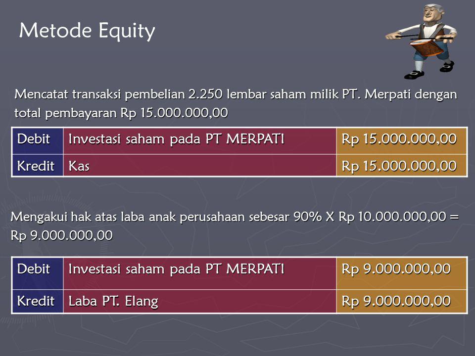 Metode Equity Debit Investasi saham pada PT MERPATI Rp 15.000.000,00