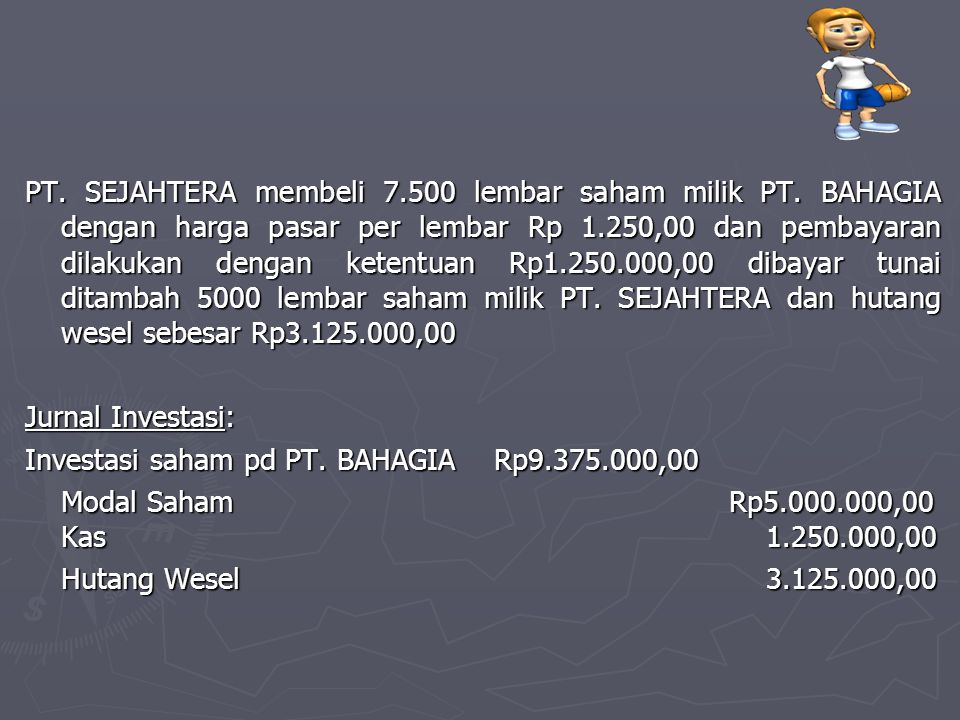 PT. SEJAHTERA membeli 7. 500 lembar saham milik PT