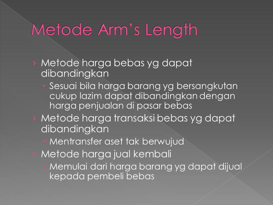 Metode Arm's Length Metode harga bebas yg dapat dibandingkan
