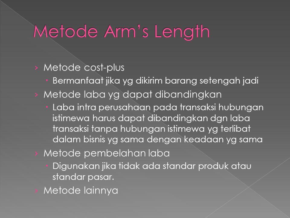 Metode Arm's Length Metode cost-plus Metode laba yg dapat dibandingkan