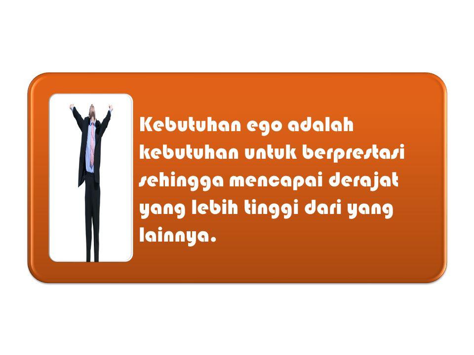 Kebutuhan ego adalah kebutuhan untuk berprestasi sehingga mencapai derajat yang lebih tinggi dari yang lainnya.