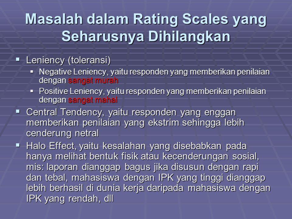 Masalah dalam Rating Scales yang Seharusnya Dihilangkan