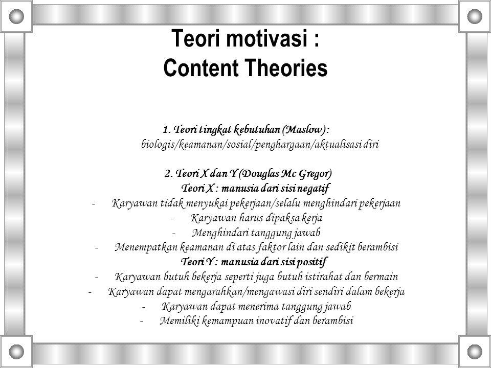 Teori motivasi : Content Theories