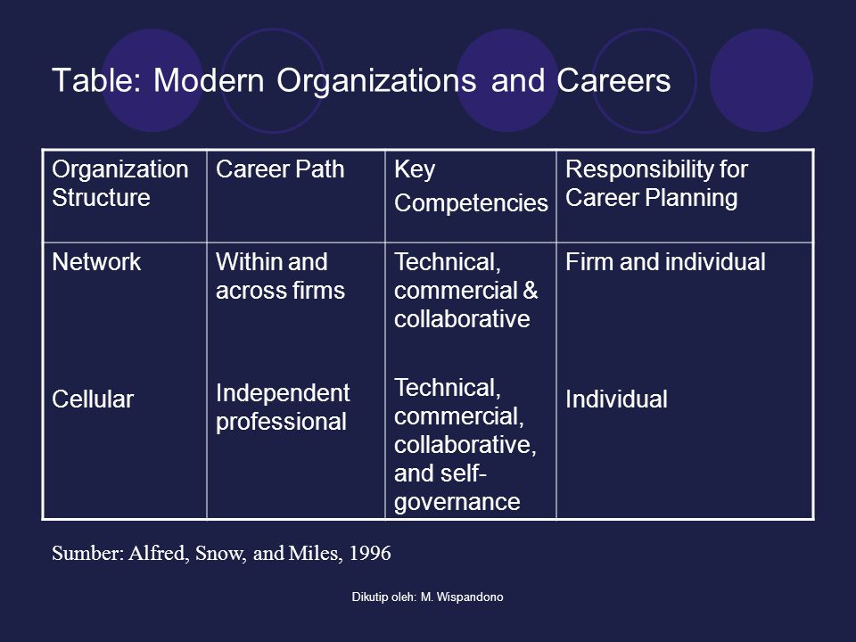 Table: Modern Organizations and Careers