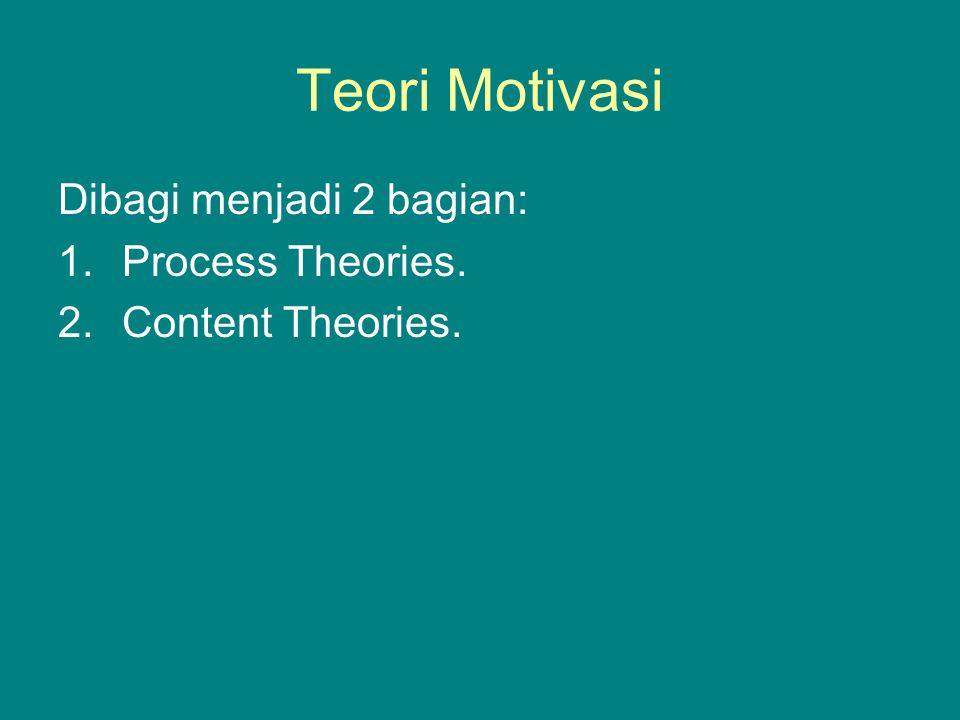 Teori Motivasi Dibagi menjadi 2 bagian: Process Theories.