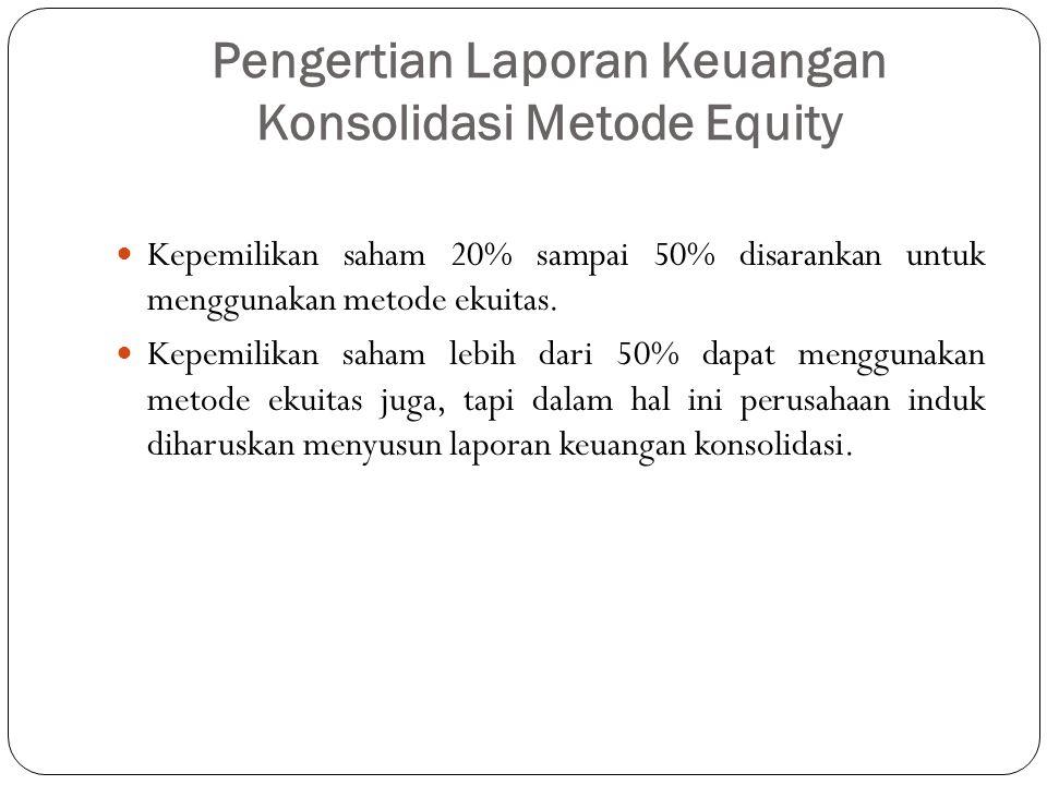 Pengertian Laporan Keuangan Konsolidasi Metode Equity