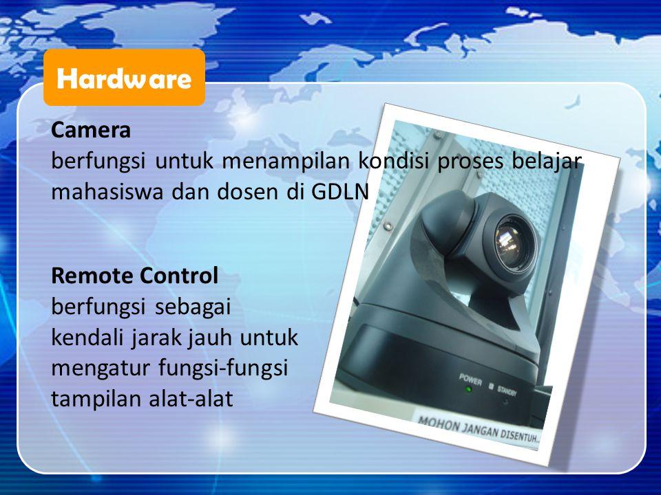 Hardware Camera. berfungsi untuk menampilan kondisi proses belajar mahasiswa dan dosen di GDLN. Remote Control.