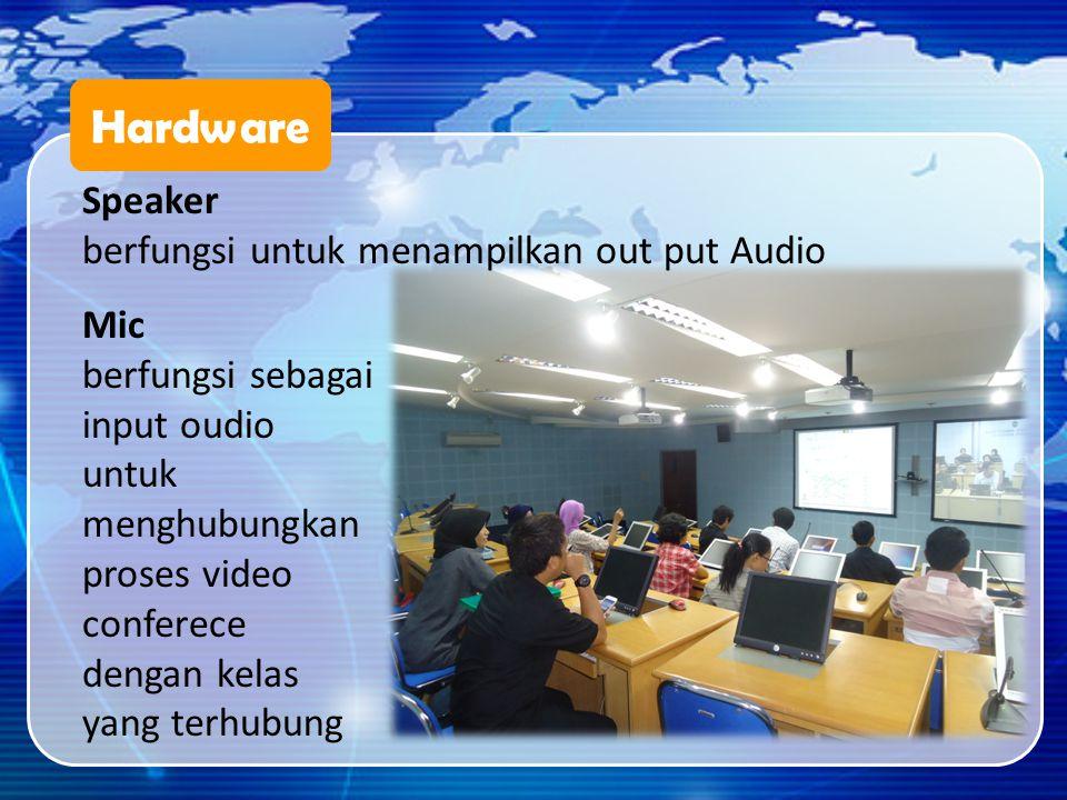 Hardware Speaker berfungsi untuk menampilkan out put Audio Mic