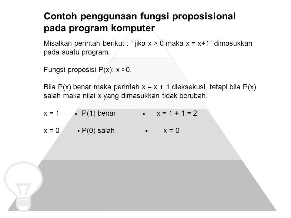 Contoh penggunaan fungsi proposisional pada program komputer