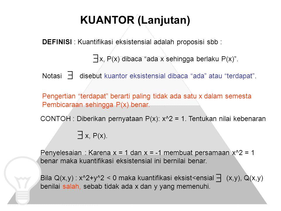 KUANTOR (Lanjutan) DEFINISI : Kuantifikasi eksistensial adalah proposisi sbb : x, P(x) dibaca ada x sehingga berlaku P(x) .
