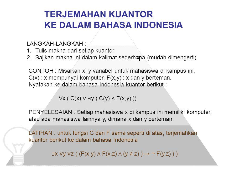KE DALAM BAHASA INDONESIA