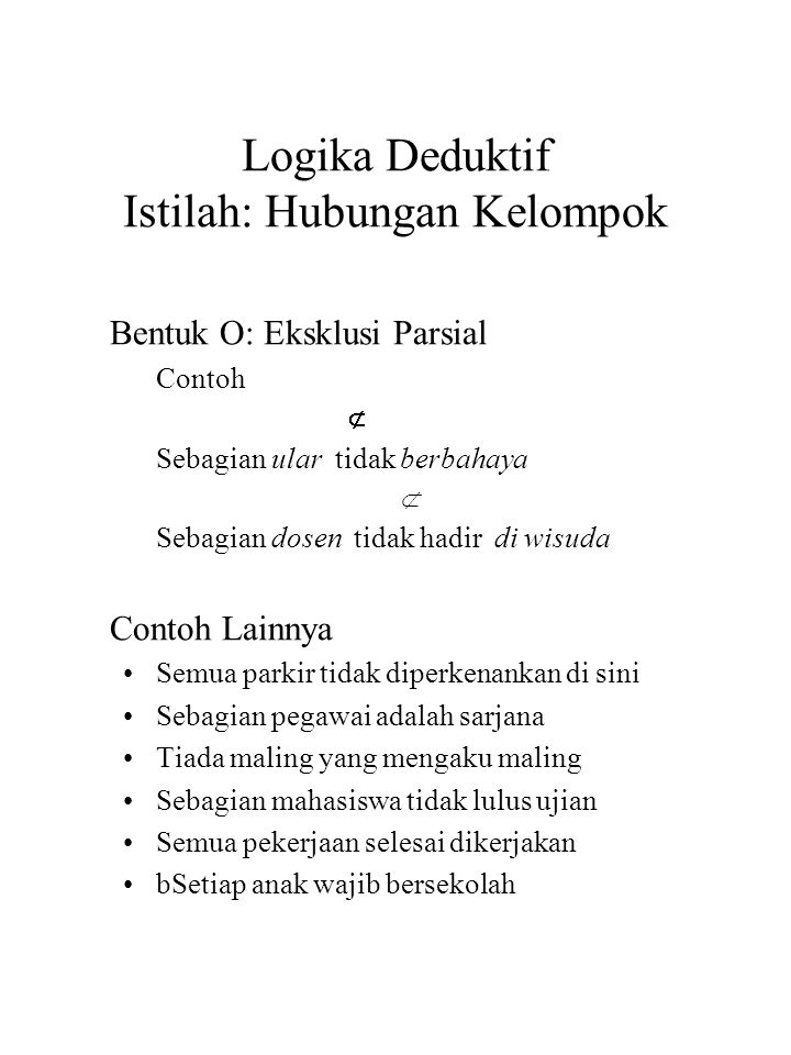Logika Deduktif Istilah: Hubungan Kelompok