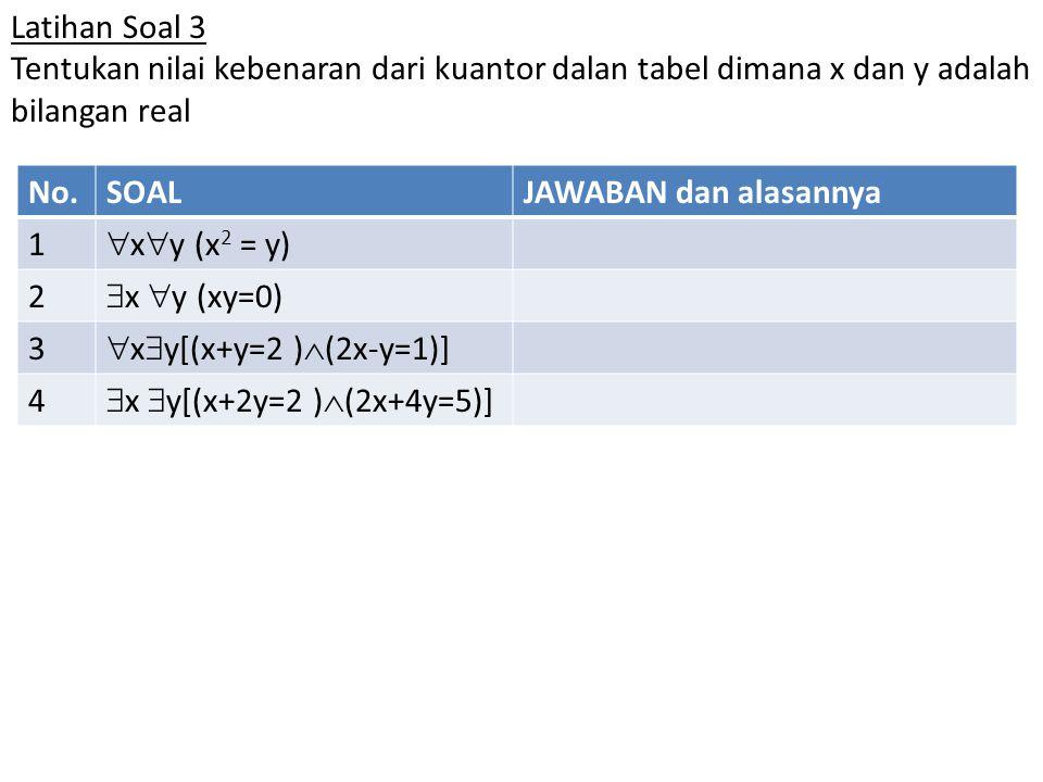 Latihan Soal 3 Tentukan nilai kebenaran dari kuantor dalan tabel dimana x dan y adalah bilangan real.