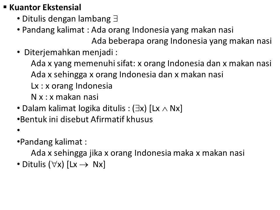 Kuantor Ekstensial Ditulis dengan lambang  Pandang kalimat : Ada orang Indonesia yang makan nasi.