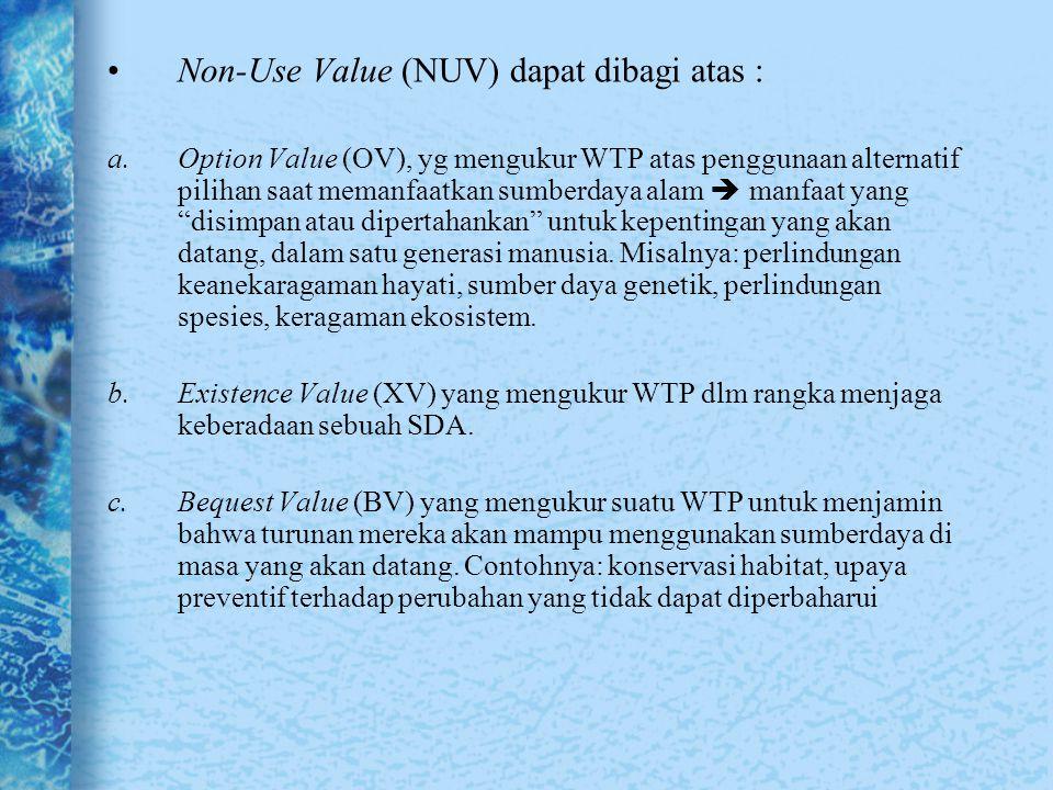 Non-Use Value (NUV) dapat dibagi atas :