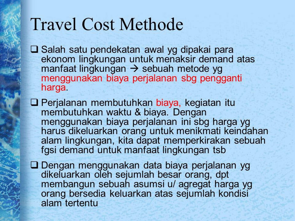 Travel Cost Methode