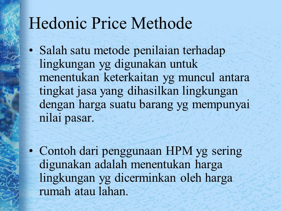 Hedonic Price Methode
