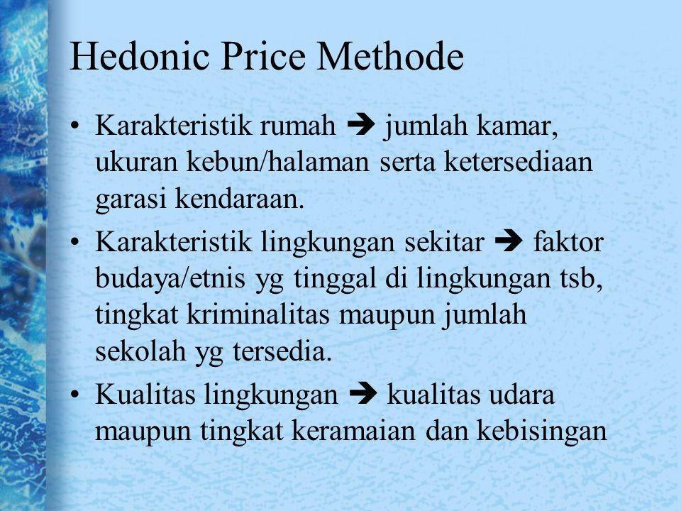 Hedonic Price Methode Karakteristik rumah  jumlah kamar, ukuran kebun/halaman serta ketersediaan garasi kendaraan.