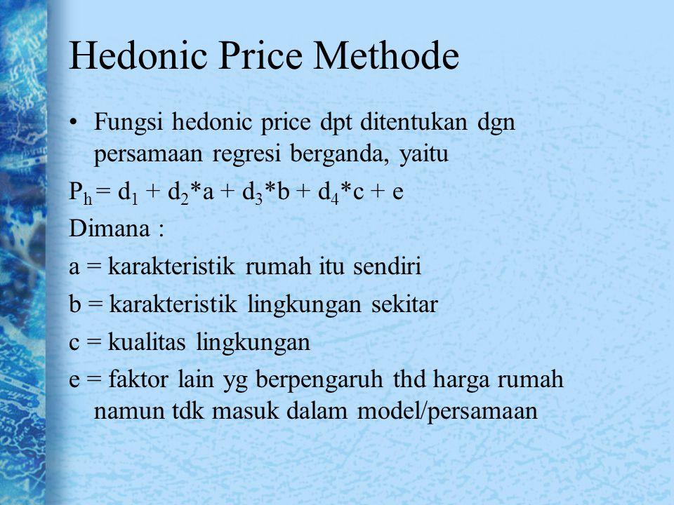Hedonic Price Methode Fungsi hedonic price dpt ditentukan dgn persamaan regresi berganda, yaitu. Ph = d1 + d2*a + d3*b + d4*c + e.