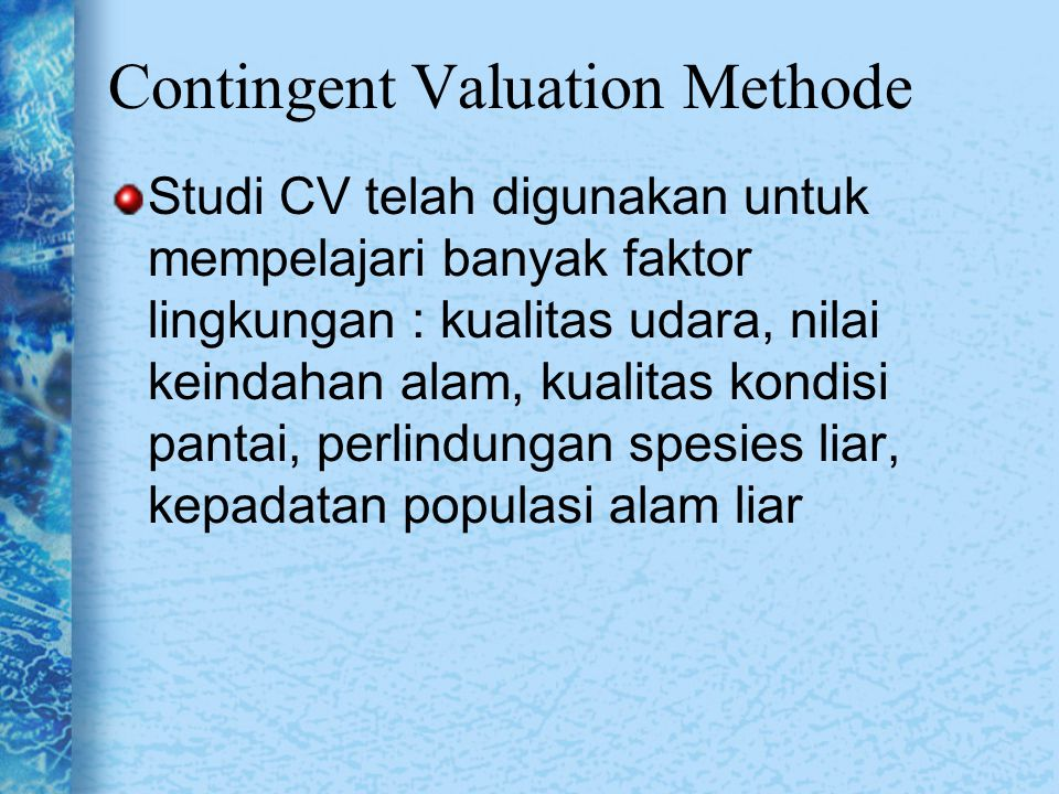 Contingent Valuation Methode