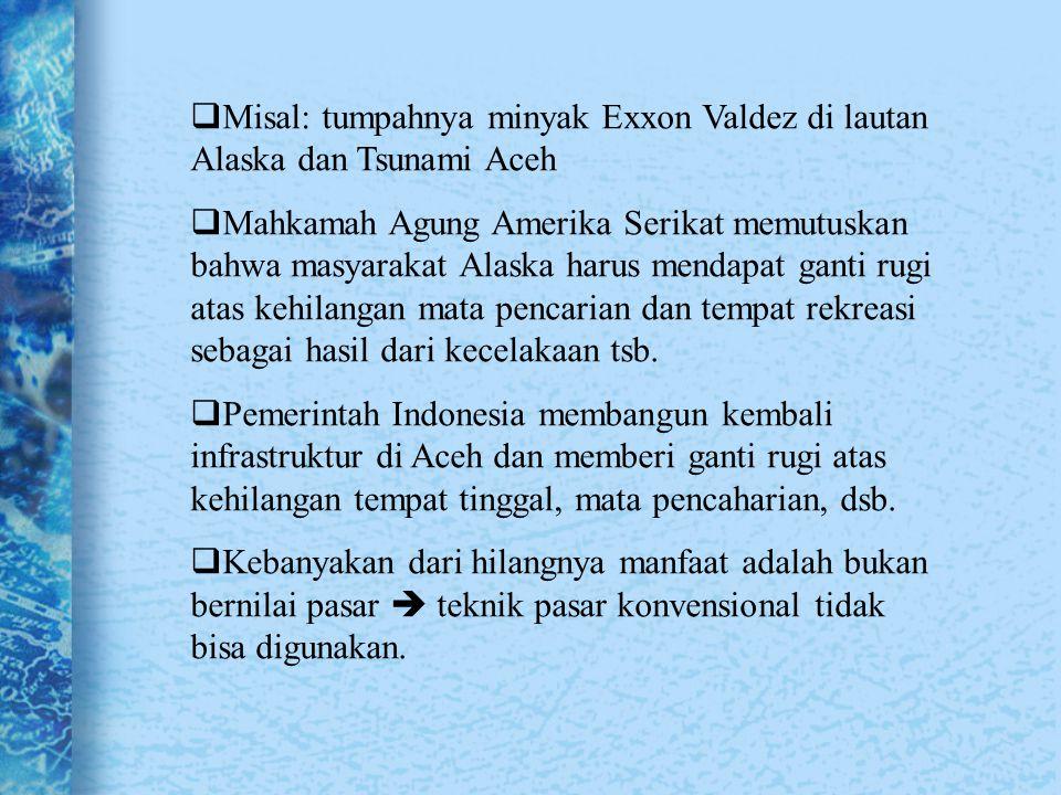 Misal: tumpahnya minyak Exxon Valdez di lautan Alaska dan Tsunami Aceh