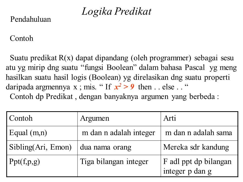 Logika Predikat Pendahuluan Contoh