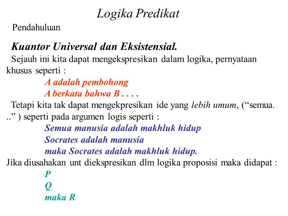 Logika Predikat Pendahuluan Kuantor Universal dan Eksistensial.