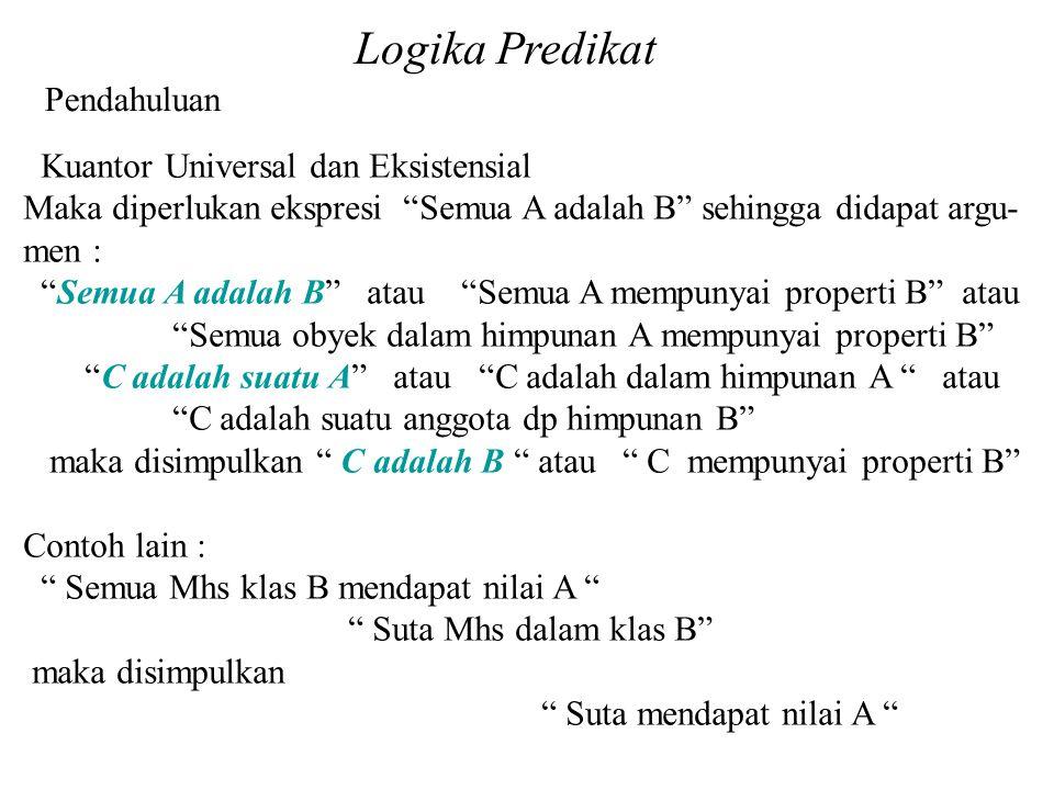 Logika Predikat Pendahuluan Kuantor Universal dan Eksistensial