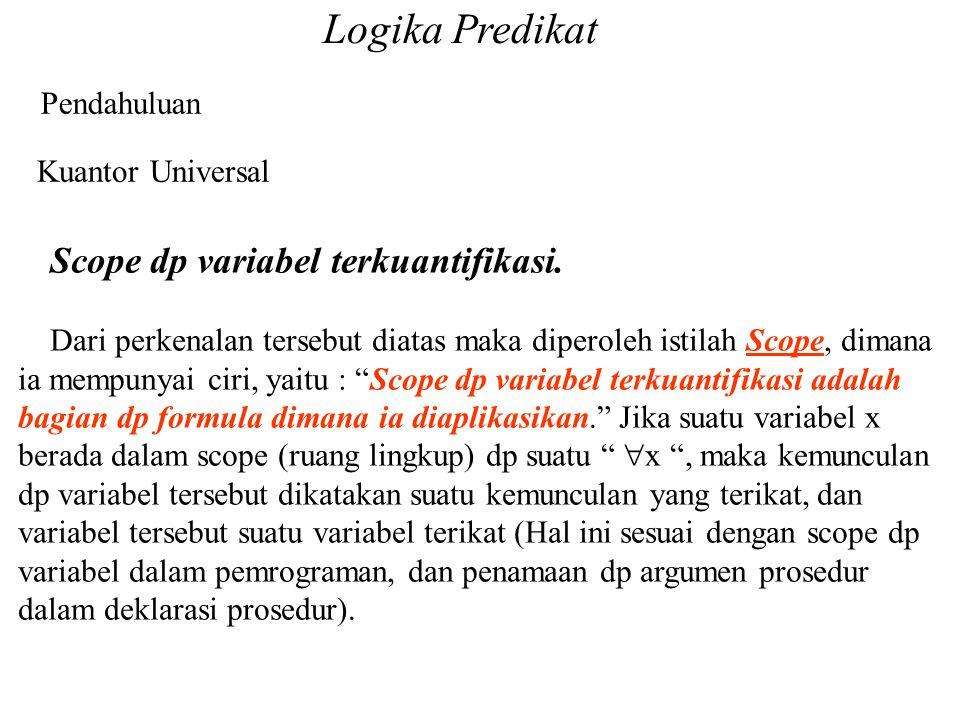 Logika Predikat Pendahuluan Kuantor Universal