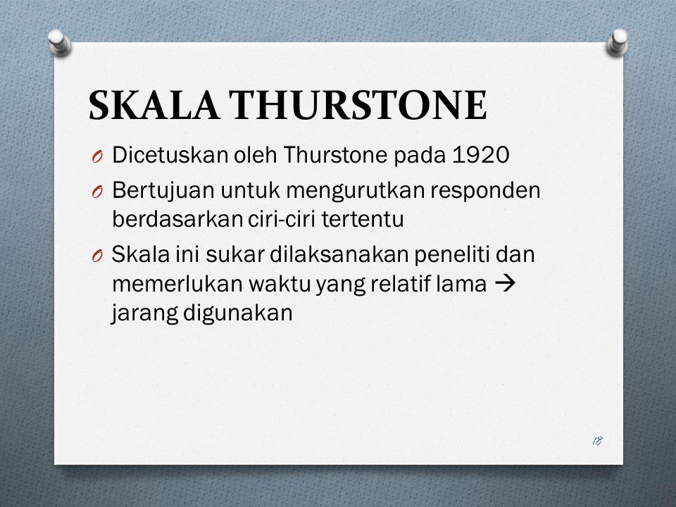 SKALA THURSTONE Dicetuskan oleh Thurstone pada 1920