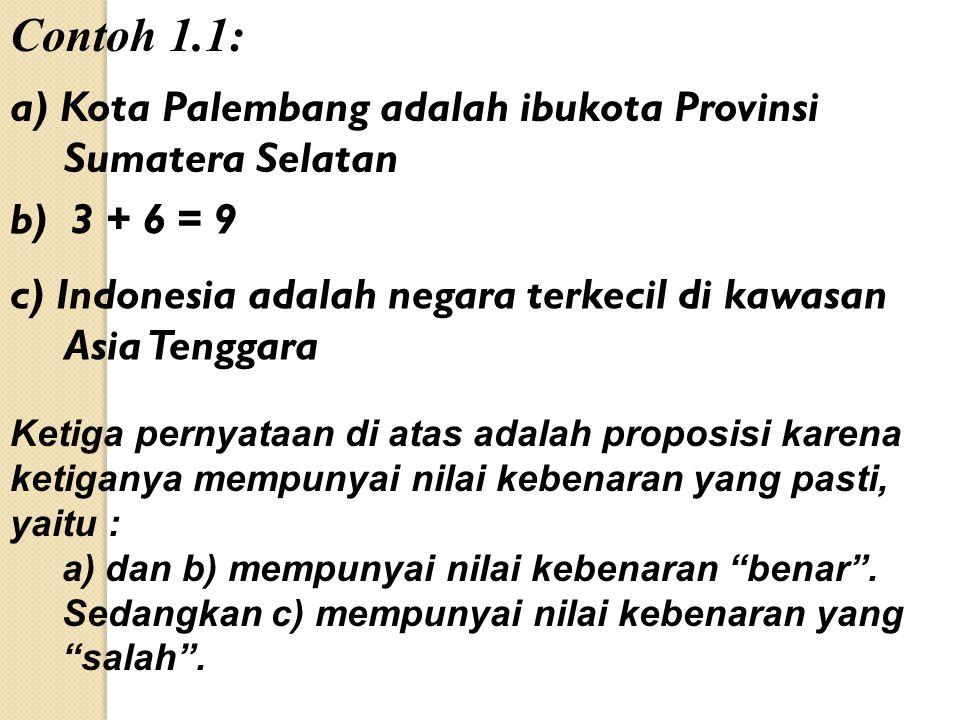 Contoh 1.1: a) Kota Palembang adalah ibukota Provinsi Sumatera Selatan