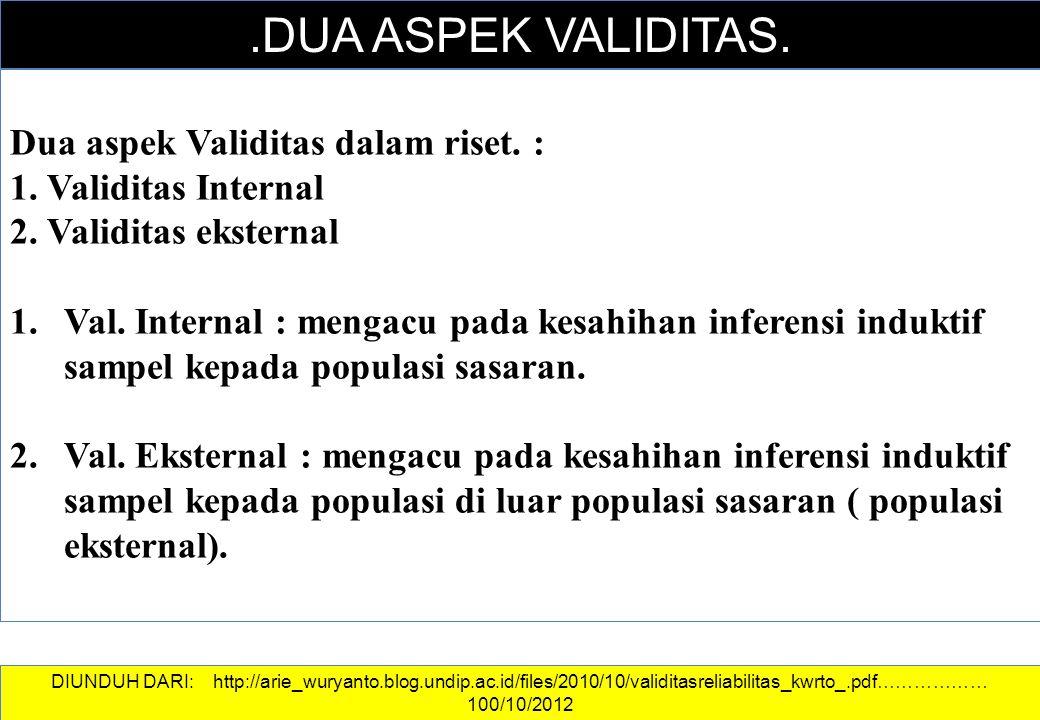 .DUA ASPEK VALIDITAS. Dua aspek Validitas dalam riset. :