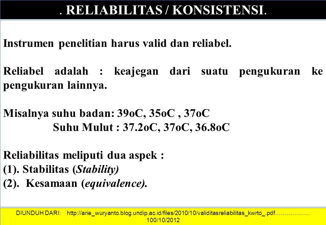 . RELIABILITAS / KONSISTENSI.