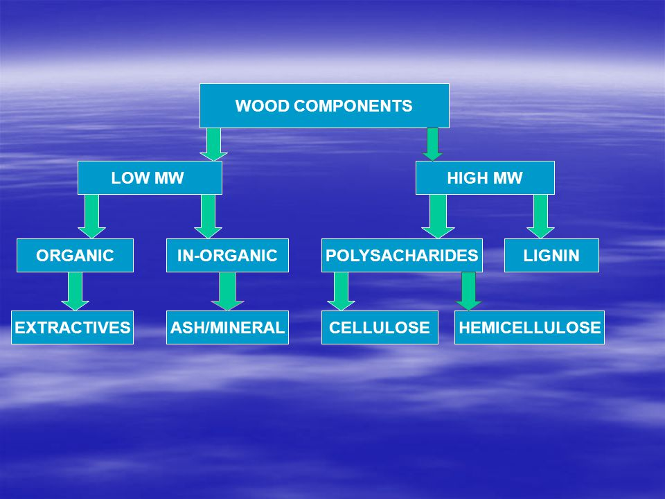 WOOD COMPONENTS LOW MW. HIGH MW. ORGANIC. IN-ORGANIC. POLYSACHARIDES. LIGNIN. EXTRACTIVES. ASH/MINERAL.