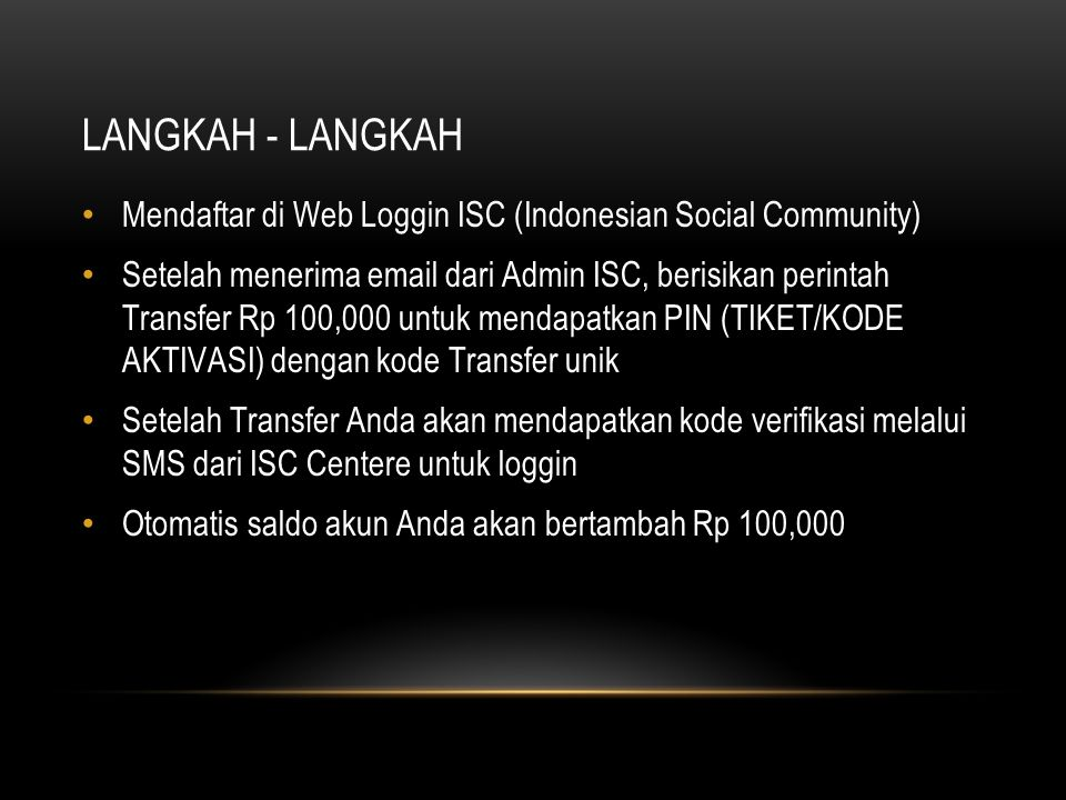 LANGKAH - LANGKAH Mendaftar di Web Loggin ISC (Indonesian Social Community)