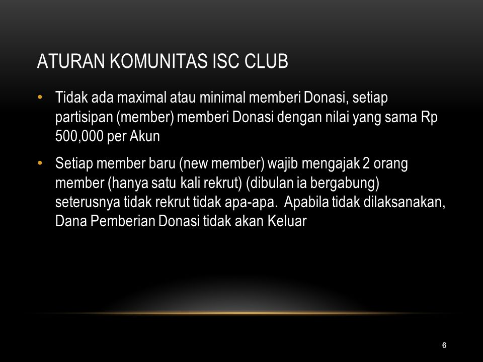 ATURAN KOMUNITAS ISC CLUB