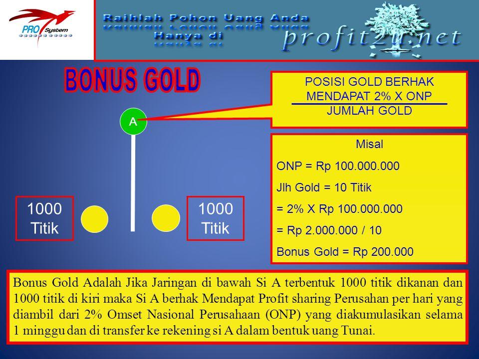 POSISI GOLD BERHAK MENDAPAT 2% X ONP