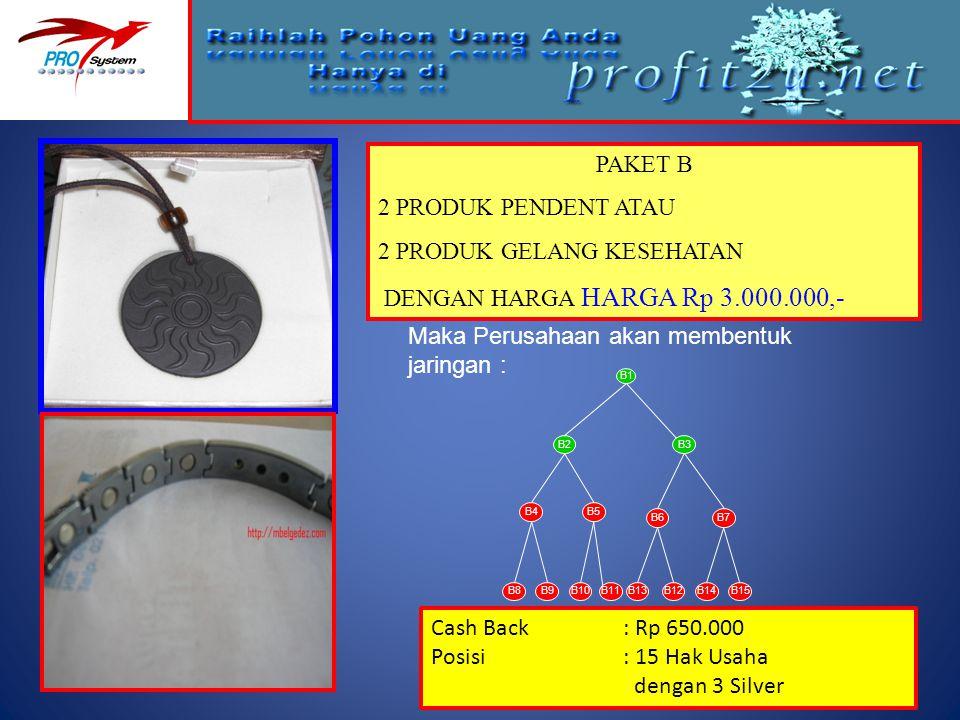 2 PRODUK GELANG KESEHATAN DENGAN HARGA HARGA Rp 3.000.000,-