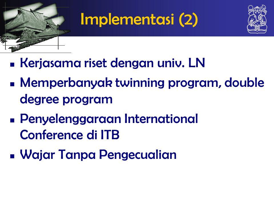 Implementasi (2) Kerjasama riset dengan univ. LN
