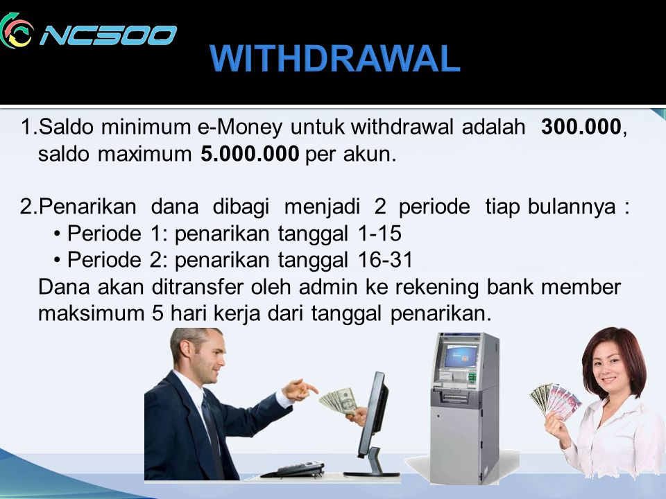 WITHDRAWAL 1.Saldo minimum e-Money untuk withdrawal adalah 300.000,