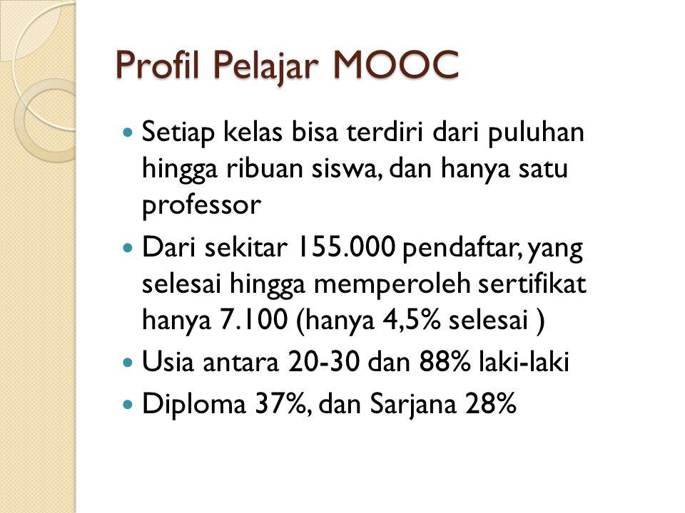 Profil Pelajar MOOC Setiap kelas bisa terdiri dari puluhan hingga ribuan siswa, dan hanya satu professor.