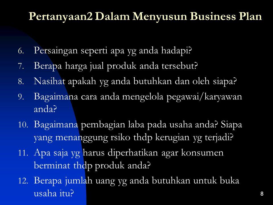 Pertanyaan2 Dalam Menyusun Business Plan