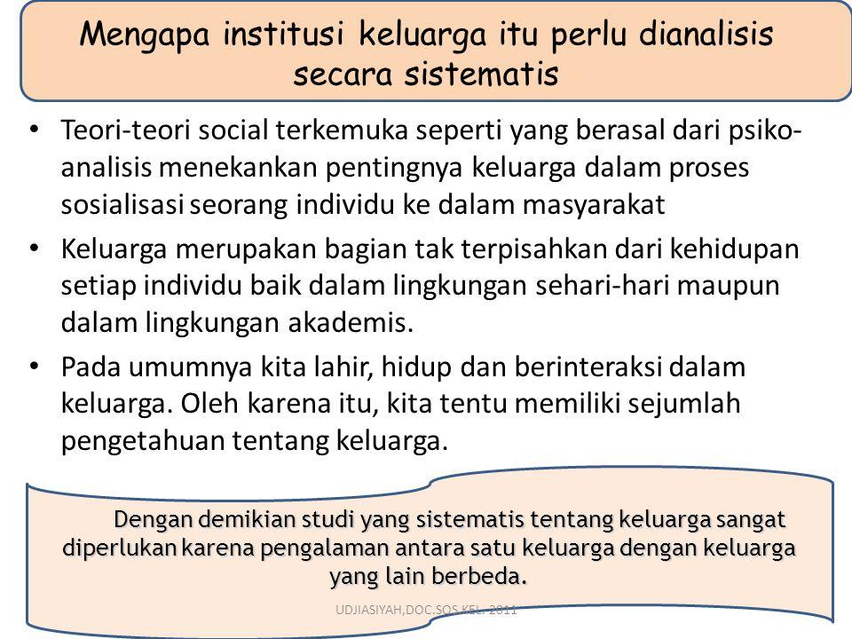 Mengapa institusi keluarga itu perlu dianalisis secara sistematis