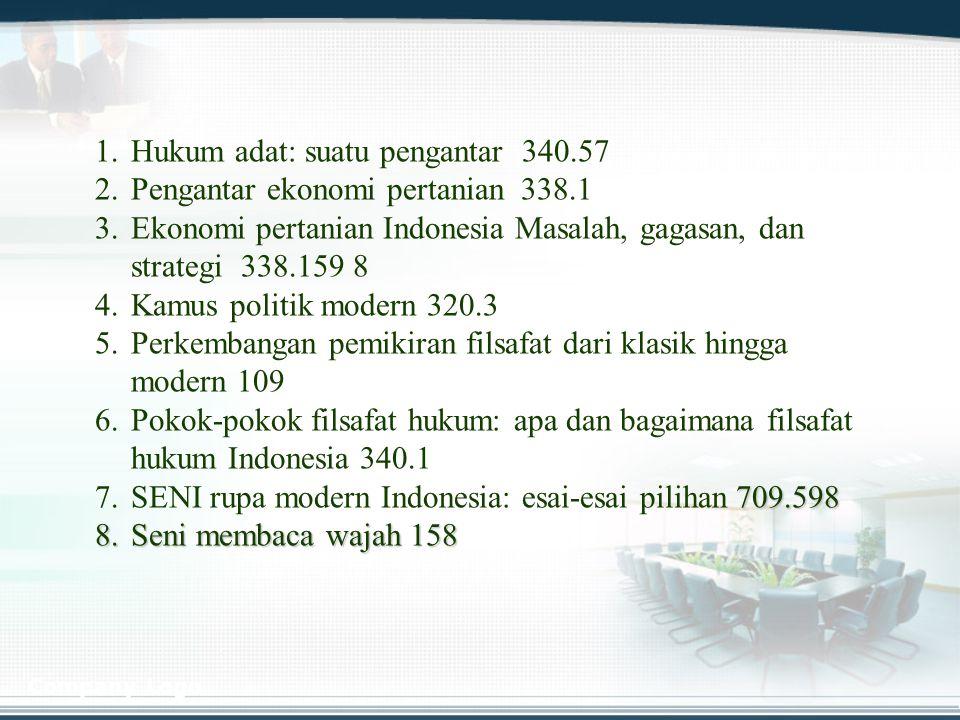 Hukum adat: suatu pengantar 340.57 Pengantar ekonomi pertanian 338.1