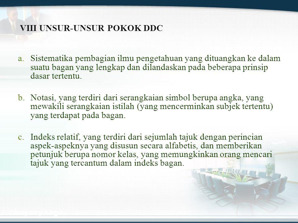 VIII UNSUR-UNSUR POKOK DDC