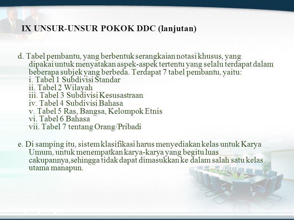 IX UNSUR-UNSUR POKOK DDC (lanjutan)