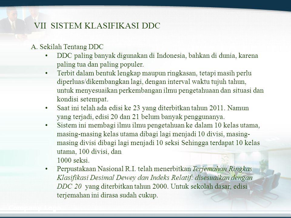 VII SISTEM KLASIFIKASI DDC